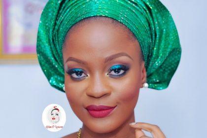 How To Tie Nigerian Pleated Gele + Teal Party Makeup Look - Tutorial
