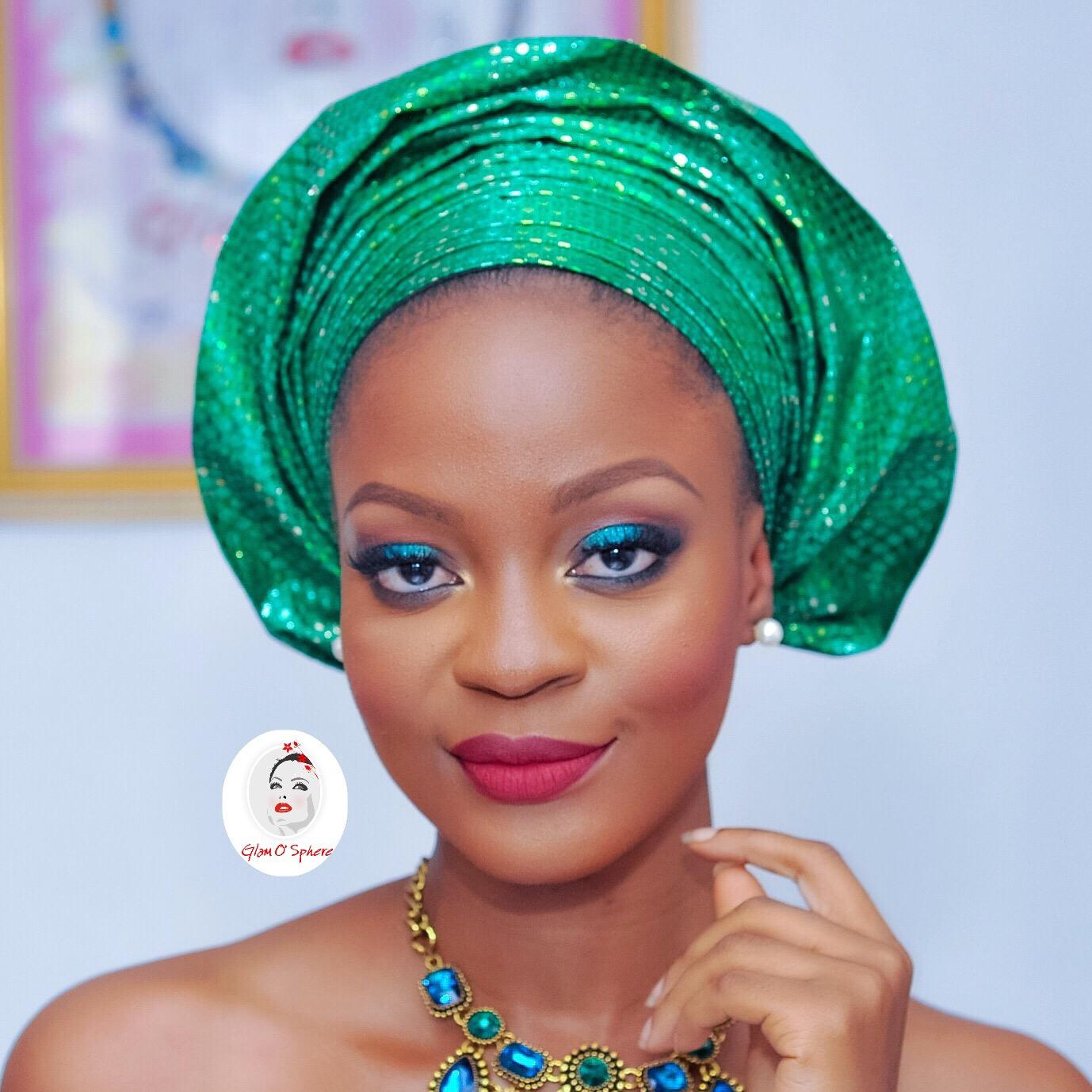 How To Tie Nigerian Pleated Gele + Teal Party Makeup Look – Tutorial
